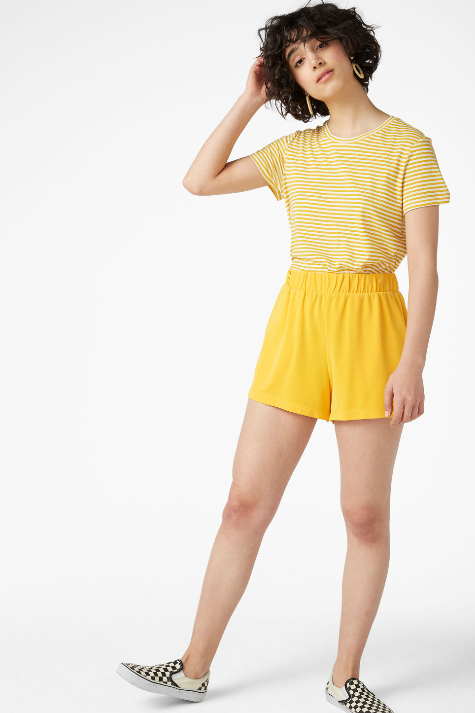 Model front image of Monki cropped tee in yellow