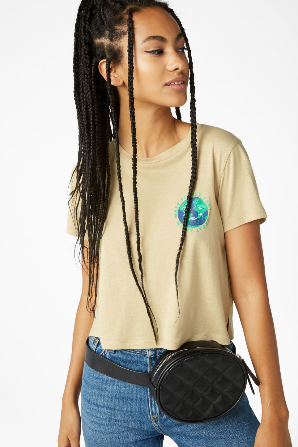 Model front image of Monki cropped tee in beige