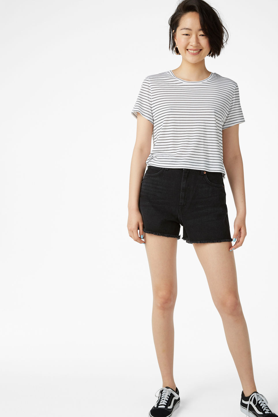 Model front image of Monki cropped tee in white