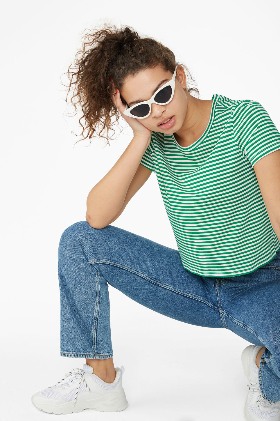 Model front image of Monki cropped tee in green