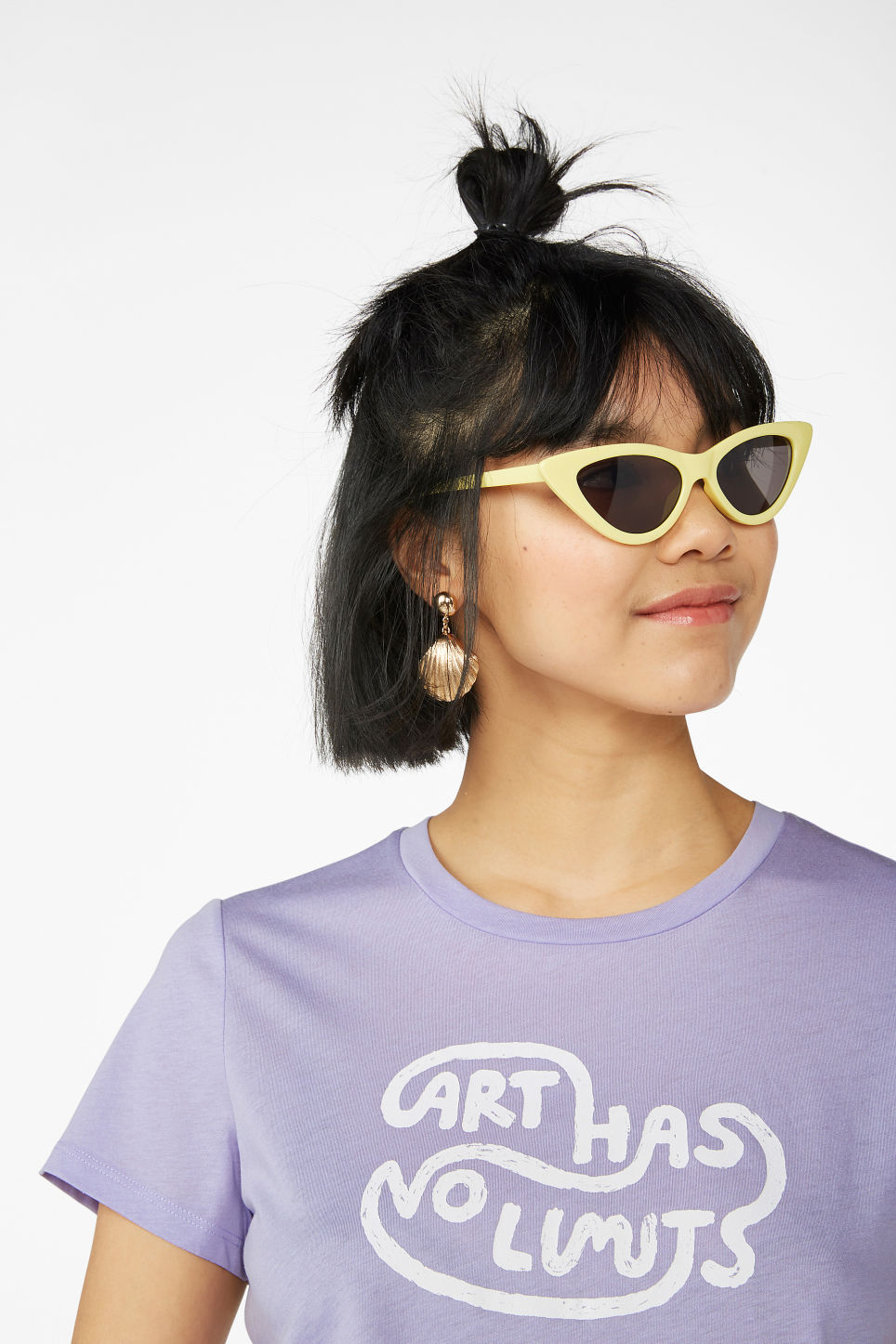 Model front image of Monki cropped tee in purple