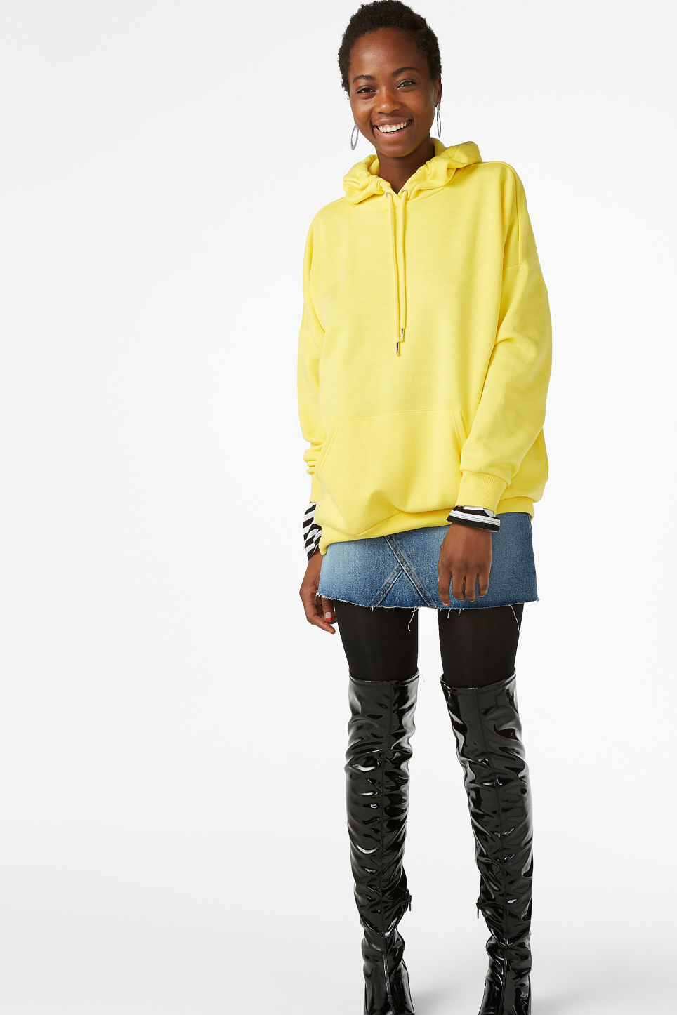 Model front image of Monki oversized hoodie in yellow
