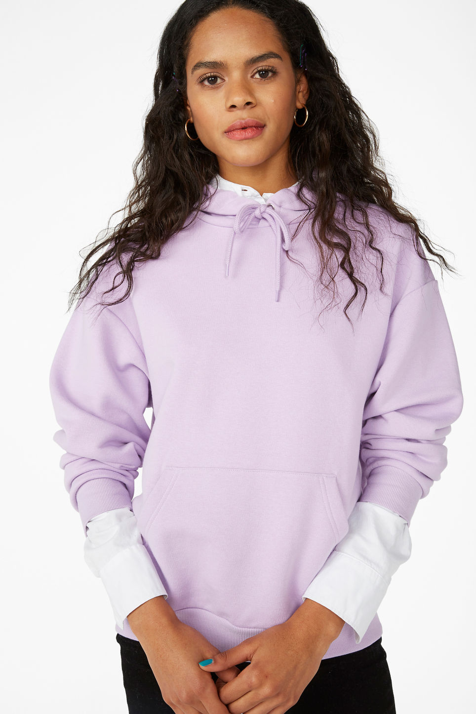 Model front image of Monki classic hoodie in purple