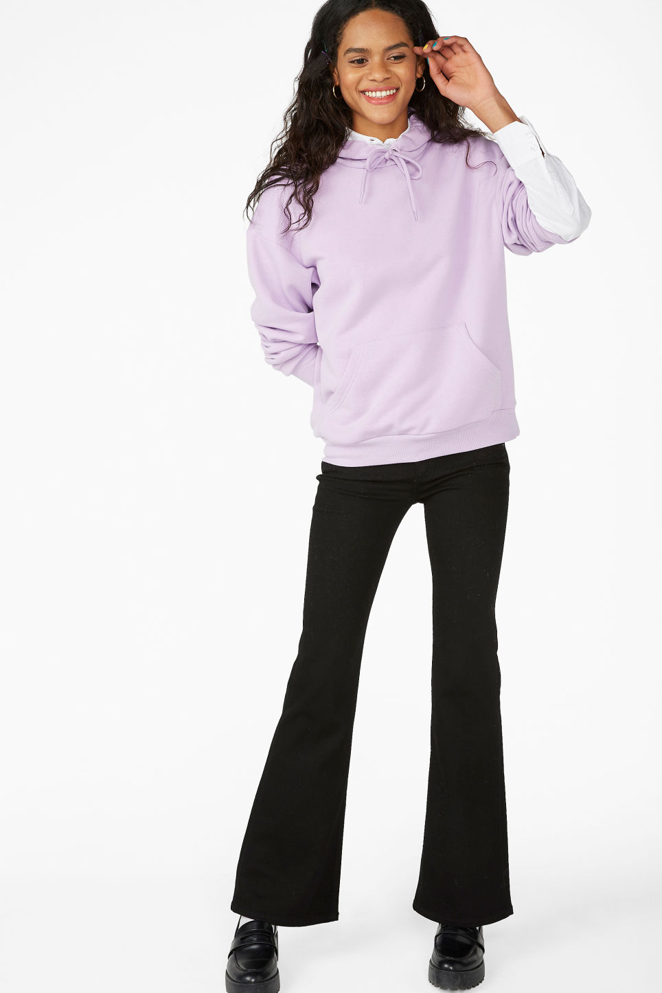 Model side image of Monki classic hoodie in purple