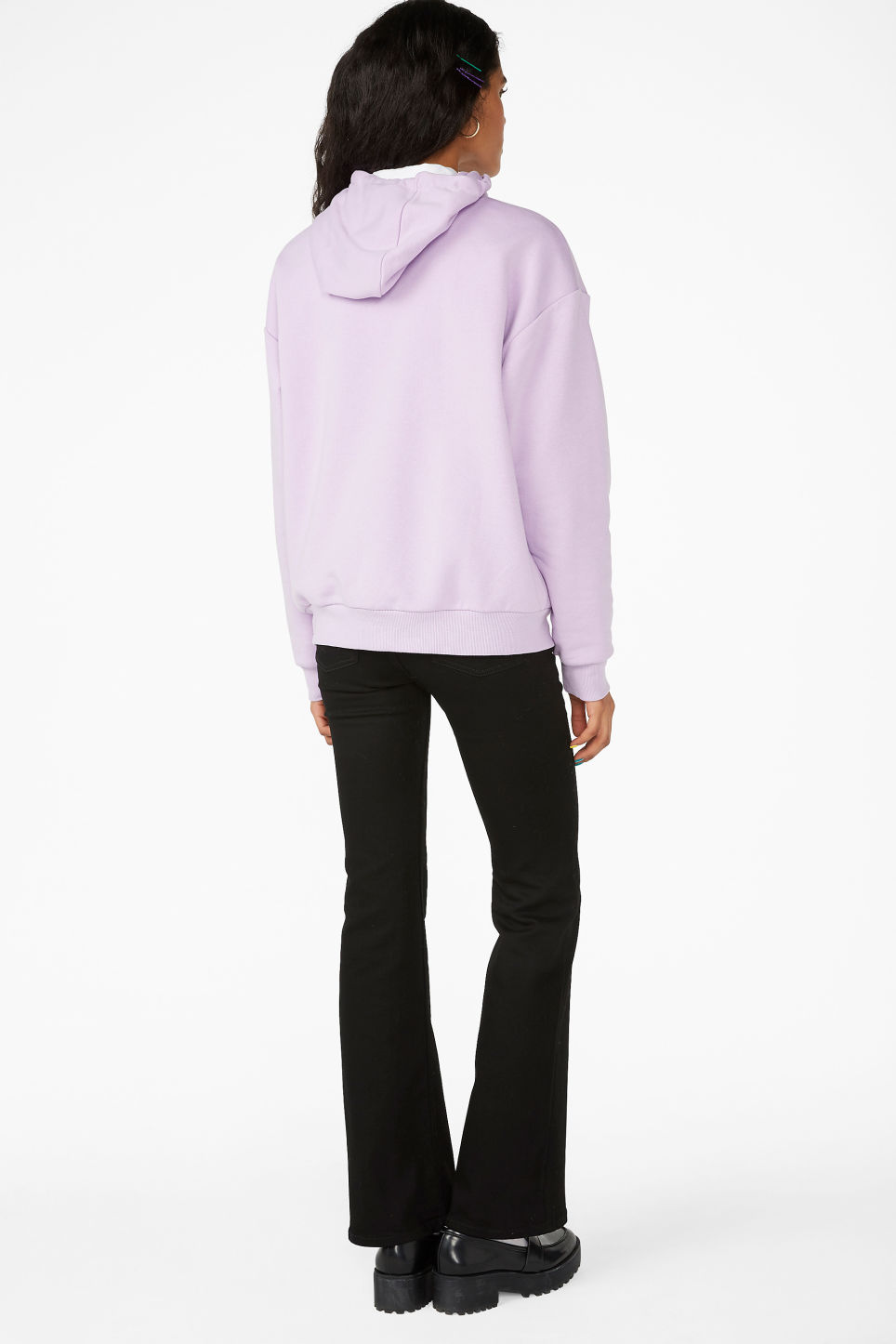 Model back image of Monki classic hoodie in purple