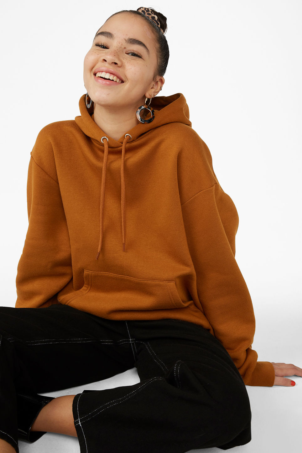 Model front image of Monki soft drawstring hoodie in orange