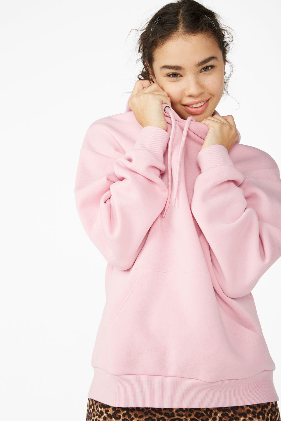 Model front image of Monki soft drawstring hoodie in pink