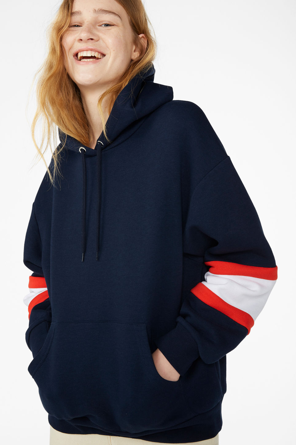 Model front image of Monki soft drawstring hoodie in blue