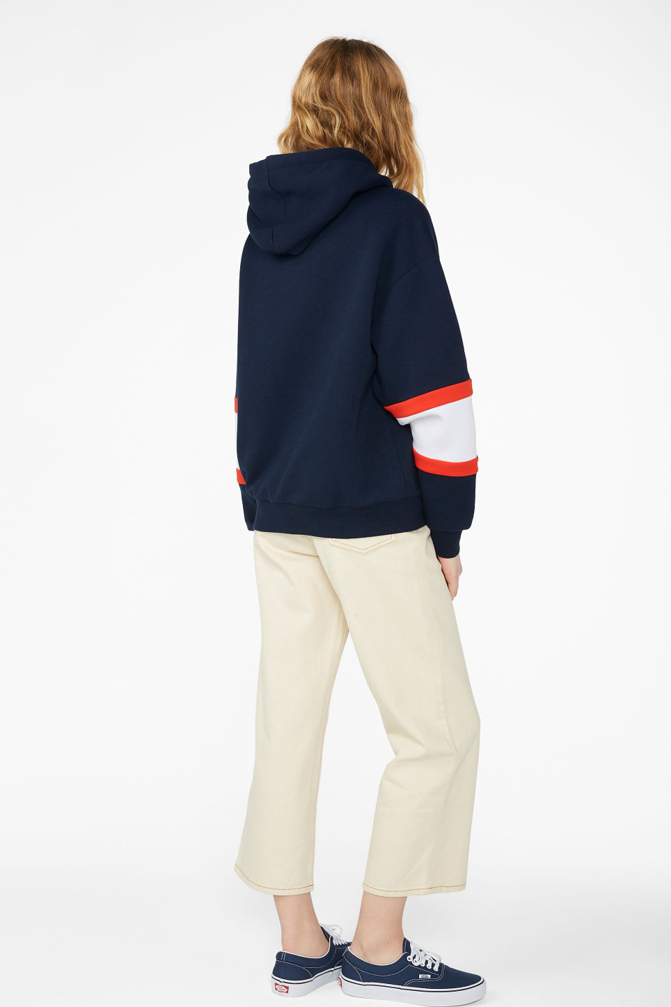 Model back image of Monki soft drawstring hoodie in blue