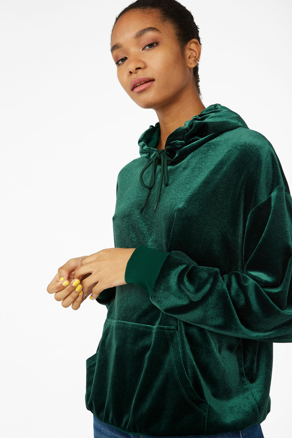Model front image of Monki soft drawstring hoodie in green
