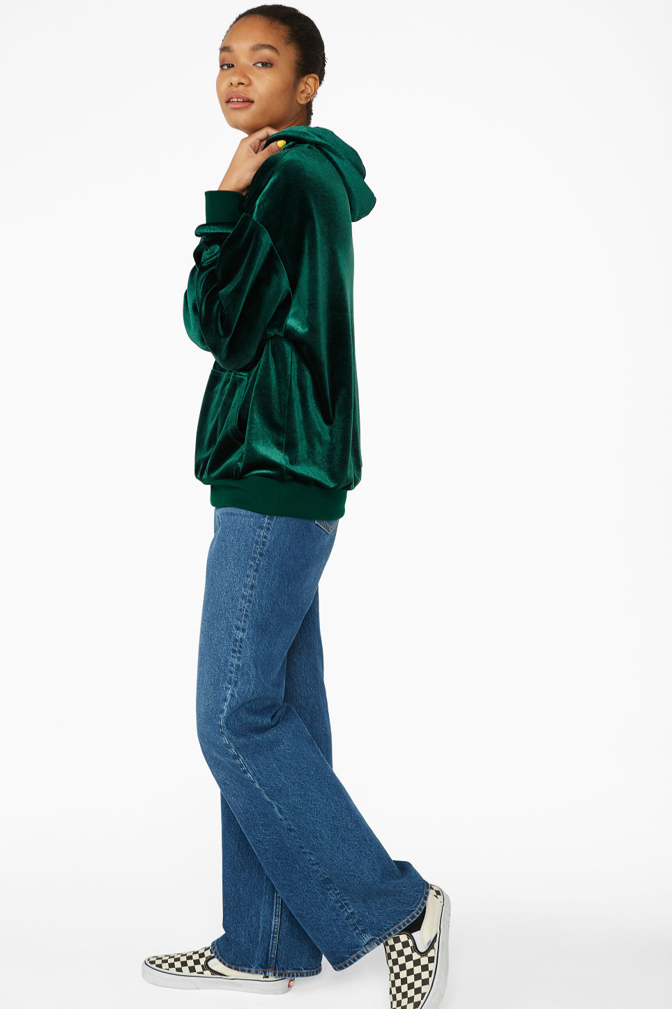 Model side image of Monki soft drawstring hoodie in green