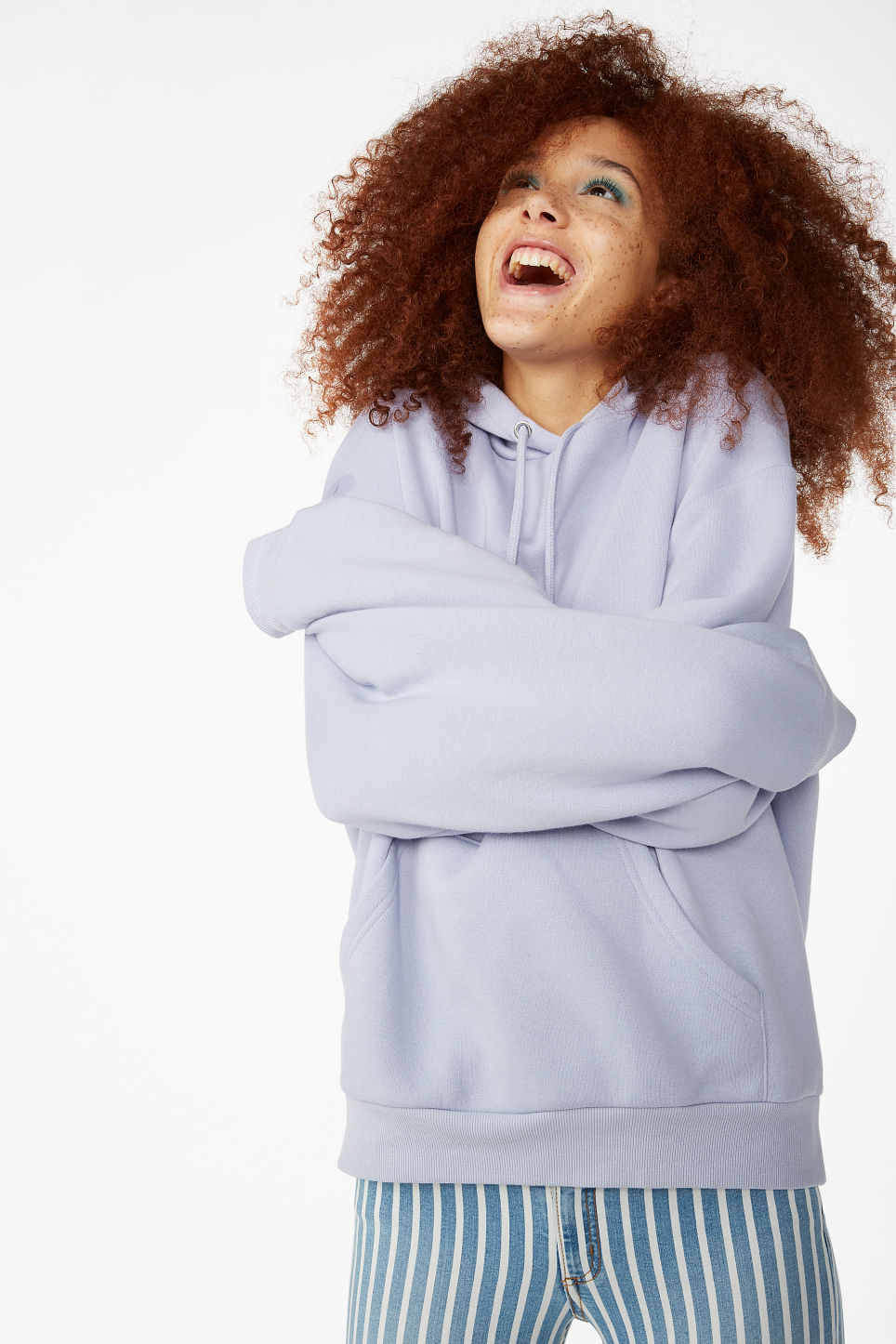 Model front image of Monki soft drawstring hoodie in purple