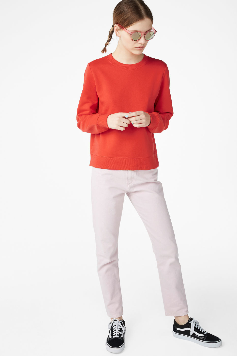 Model side image of Monki long-sleeved sweater in red