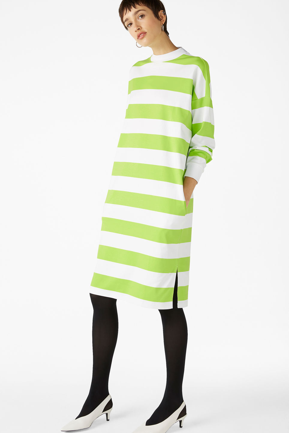 Model back image of Monki oversize sweater dress in green