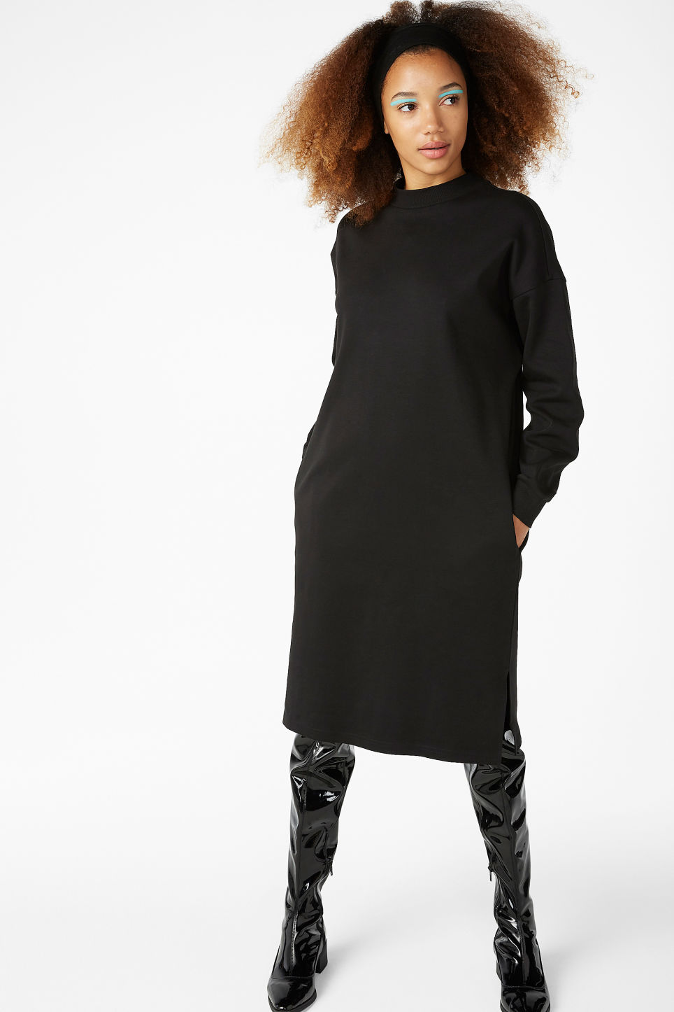 Model front image of Monki oversize sweater dress in black