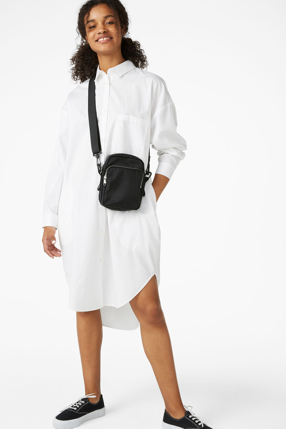 Model front image of Monki oversized shirt dress in white
