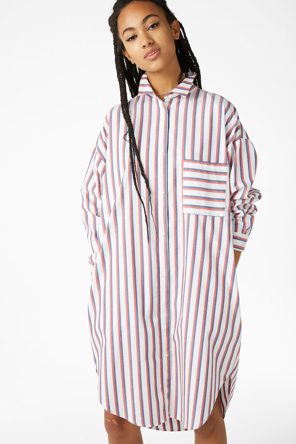 Model front image of Monki oversized shirt dress in red