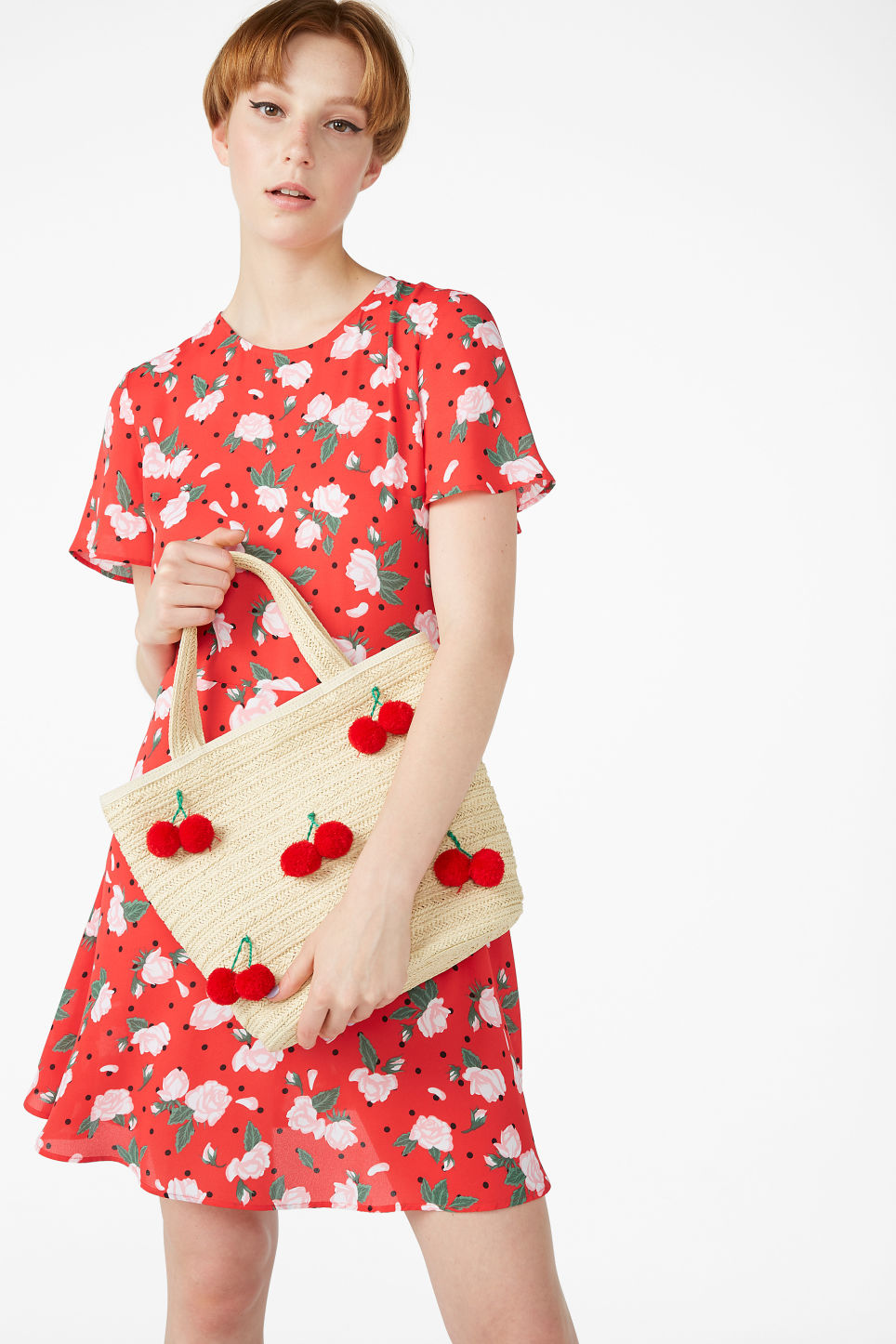 Model front image of Monki skater dress in red