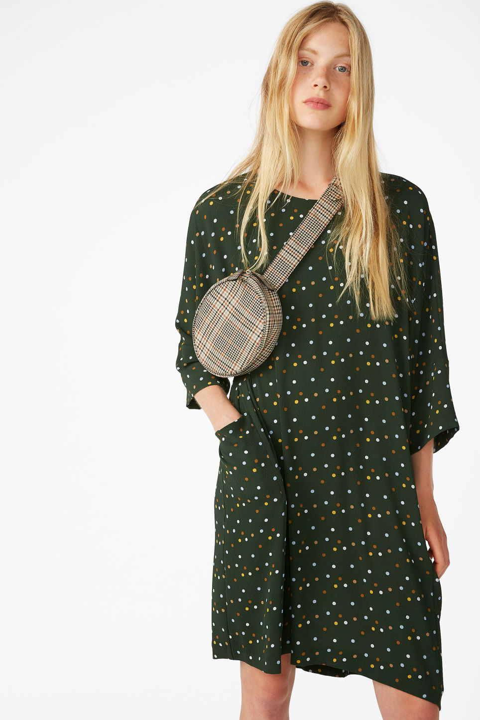 Model front image of Monki flowy dress in green