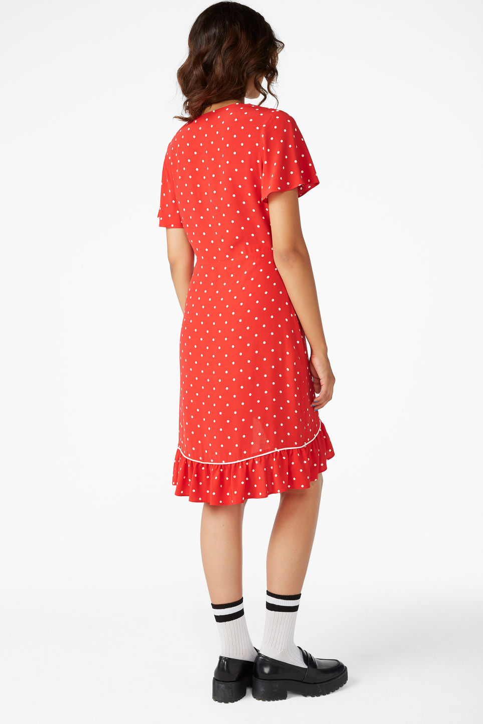 Model back image of Monki flounce and frills dress in red