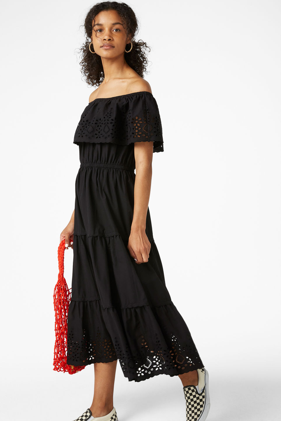Model front image of Monki embroidered maxi dress  in black