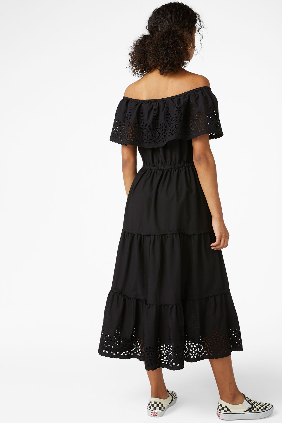 Model back image of Monki embroidered maxi dress  in black