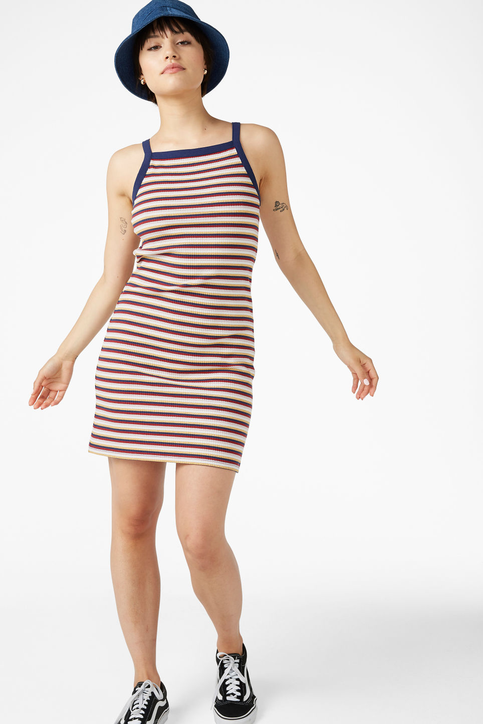 Model front image of Monki ribbed dress  in blue