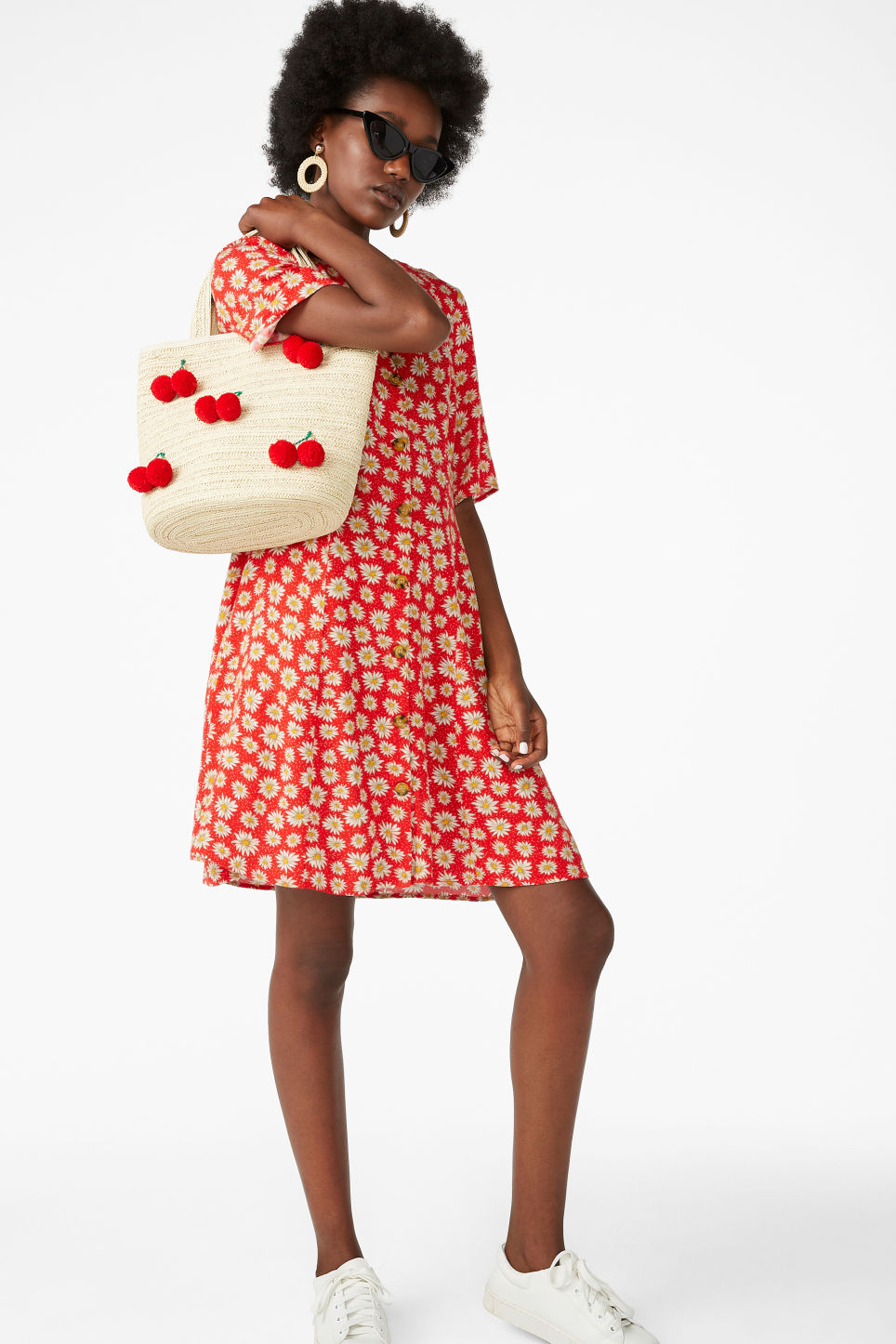 Model front image of Monki retro skater dress in red