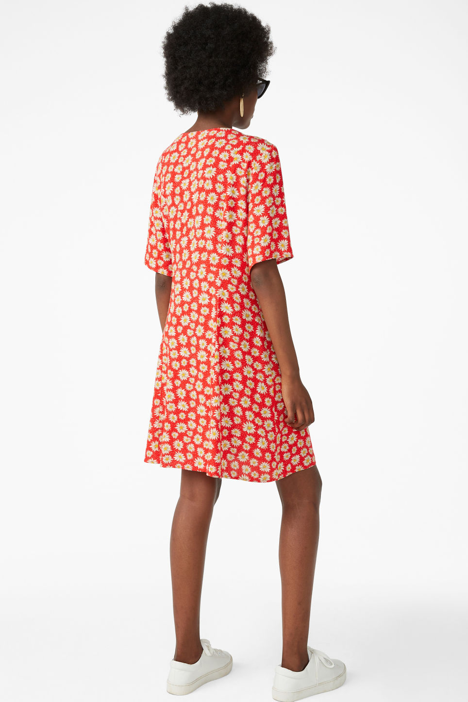 Model back image of Monki retro skater dress in red