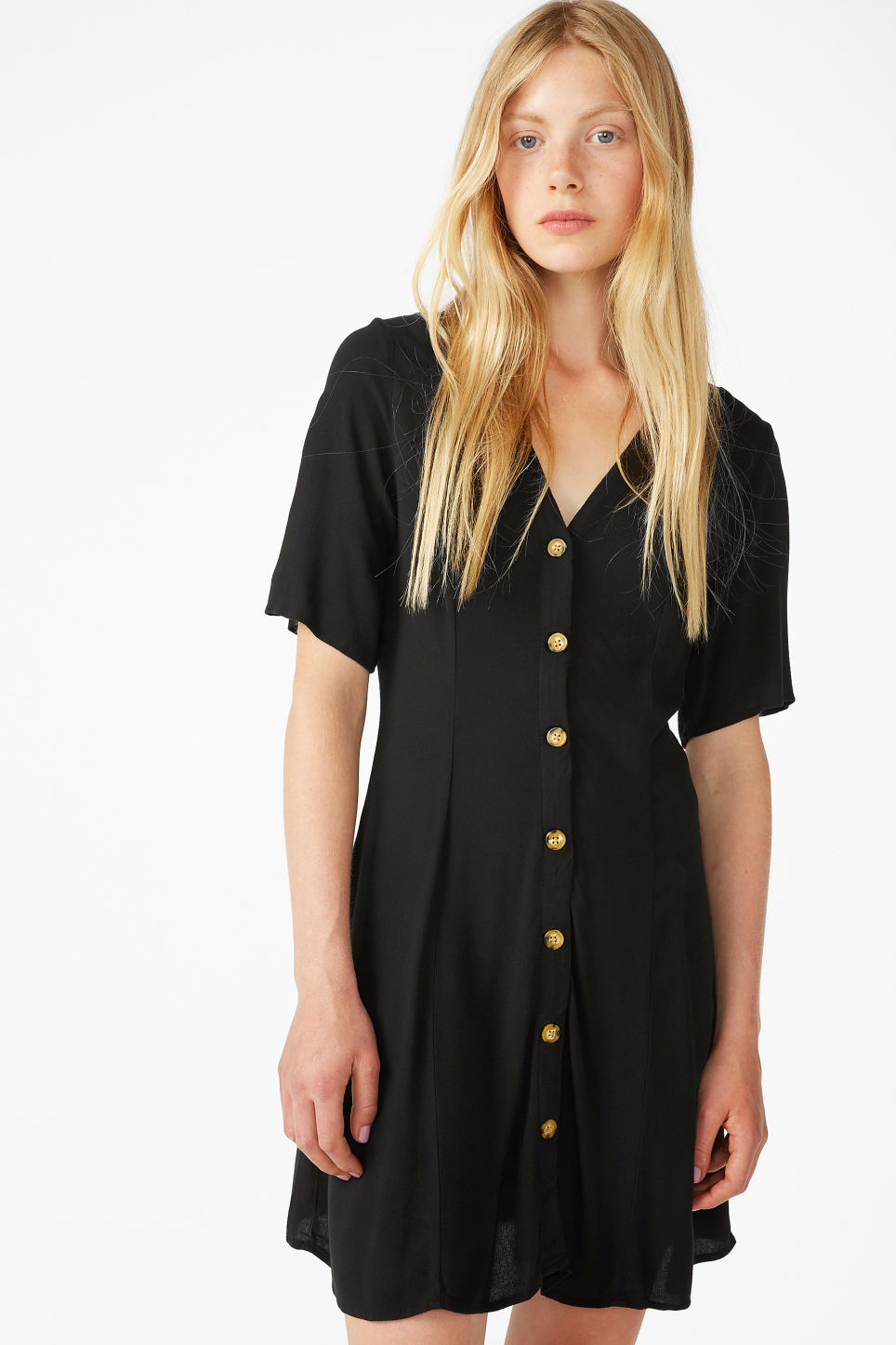 Model front image of Monki retro skater dress in black