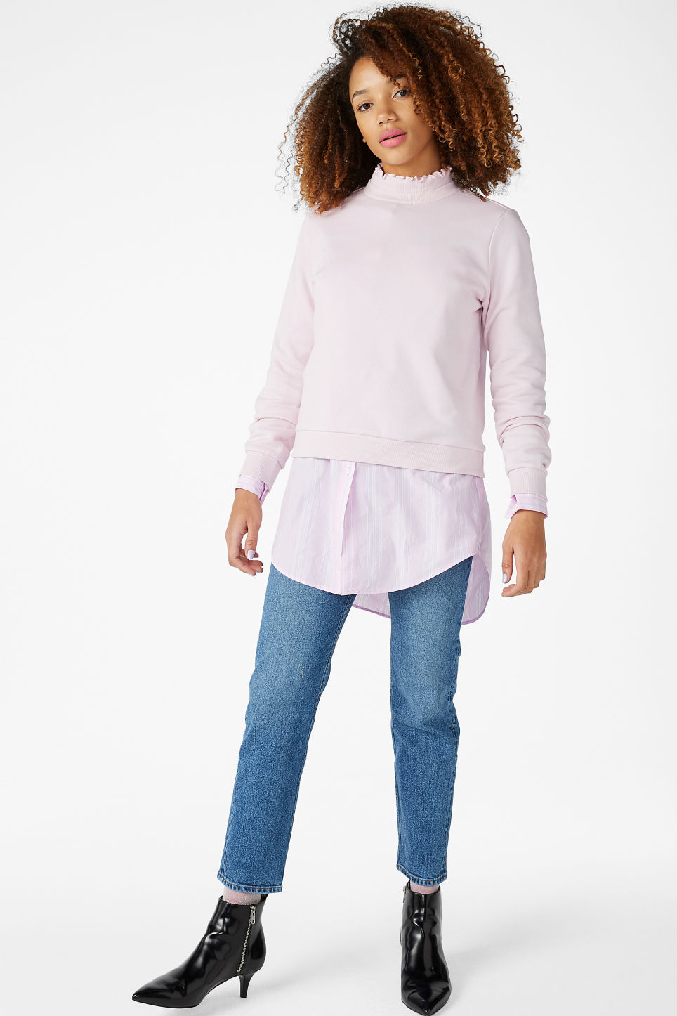 Model front image of Monki ruffled neck sweater in pink
