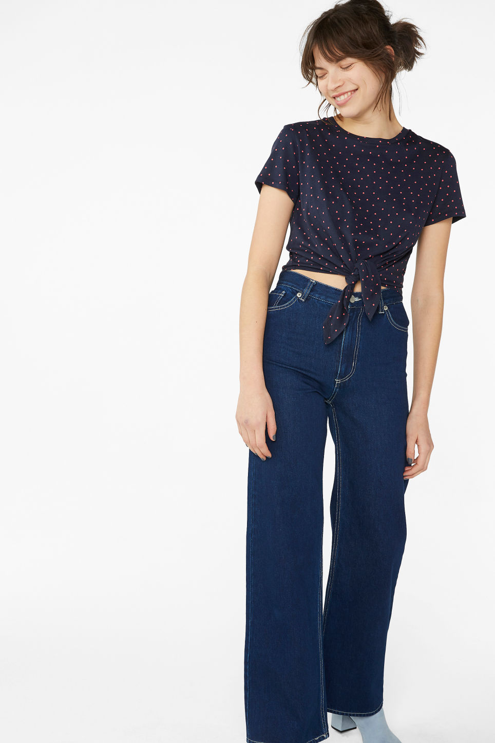 Model side image of Monki tie front tee in blue