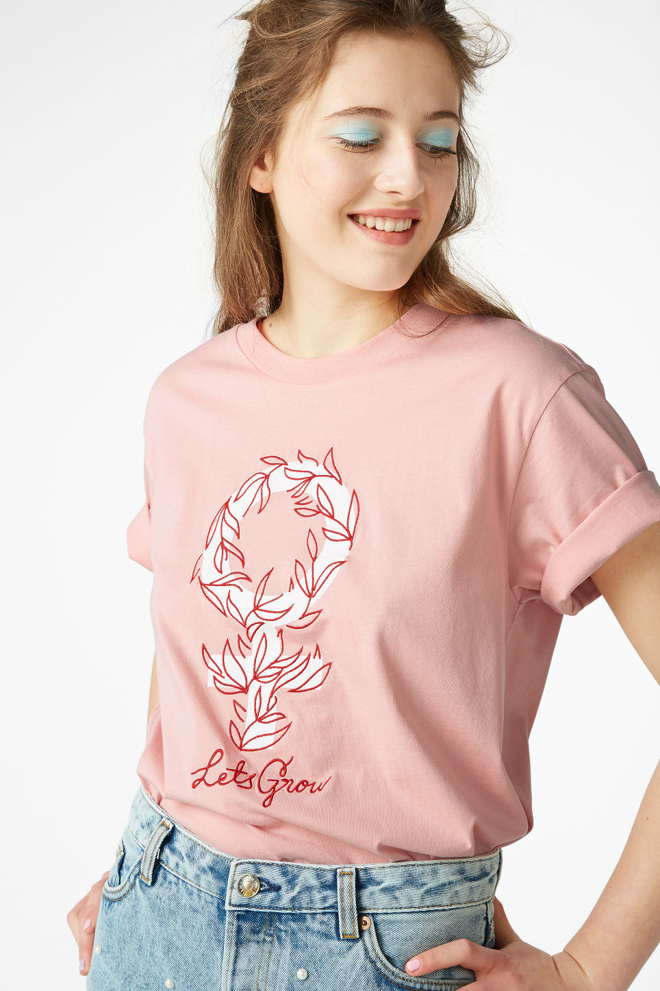 Model front image of Monki oversized tee in pink