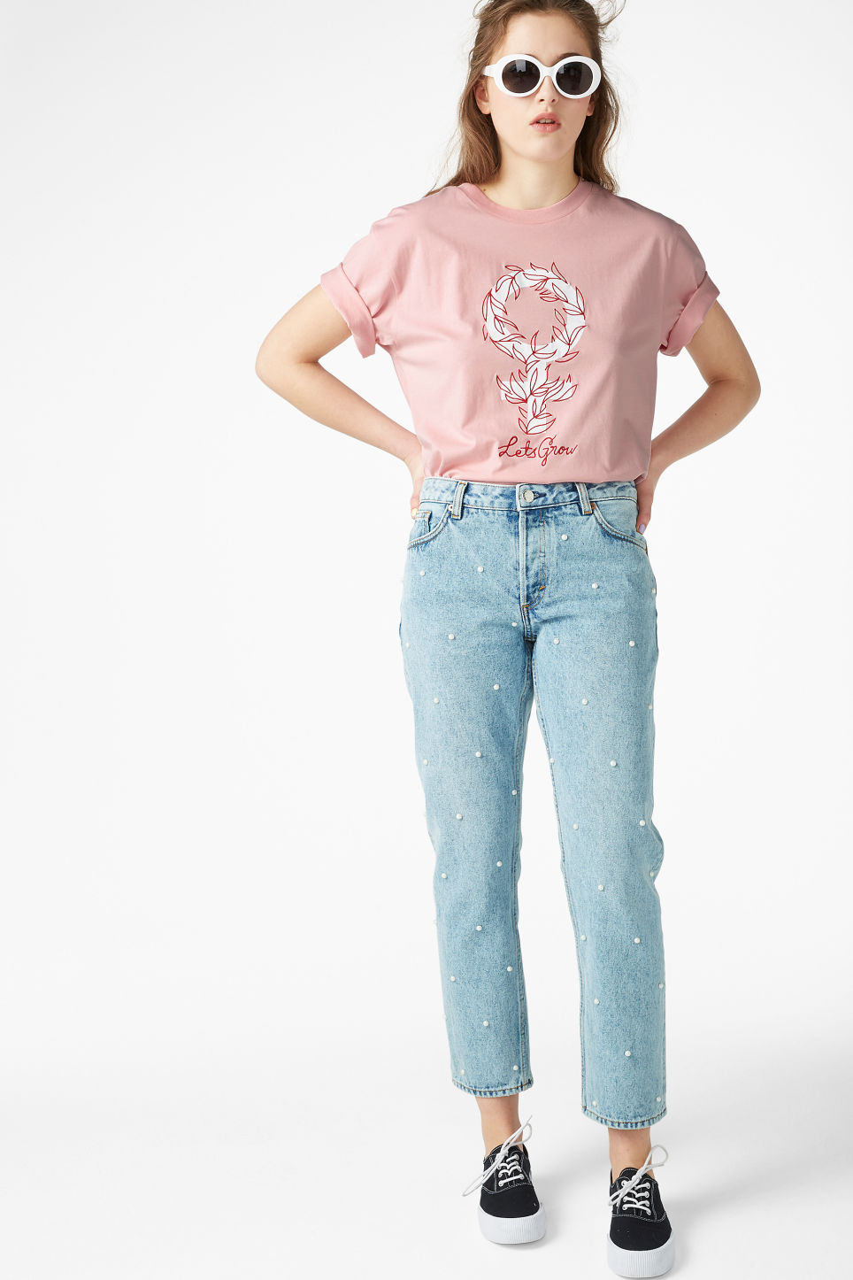 Model side image of Monki oversized tee in pink