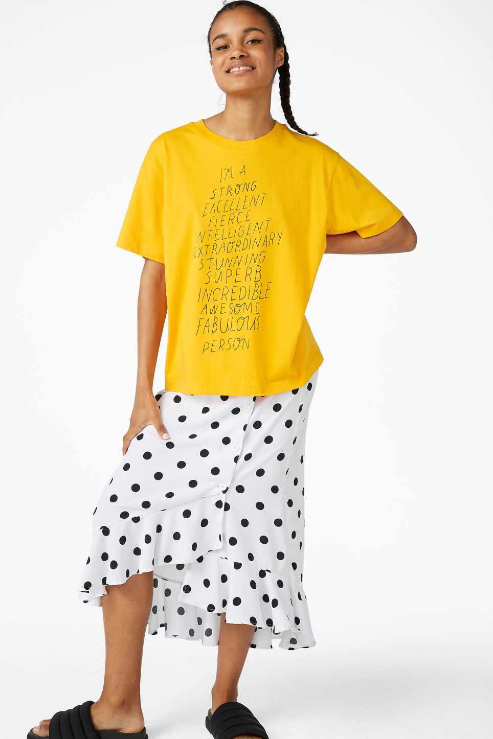 Model front image of Monki oversized tee in yellow
