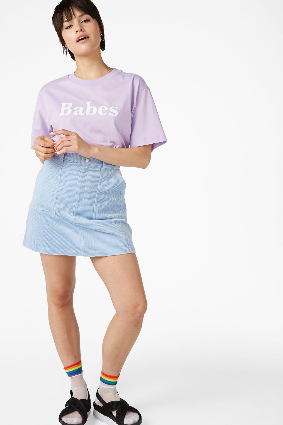 Model side image of Monki oversized tee in purple