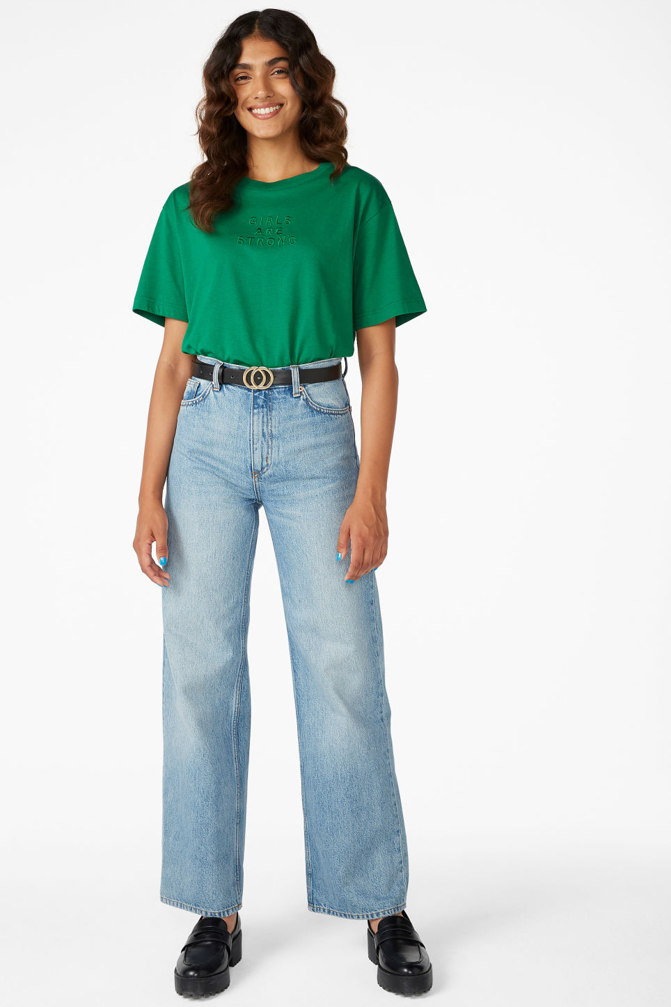 Model side image of Monki oversized tee in green