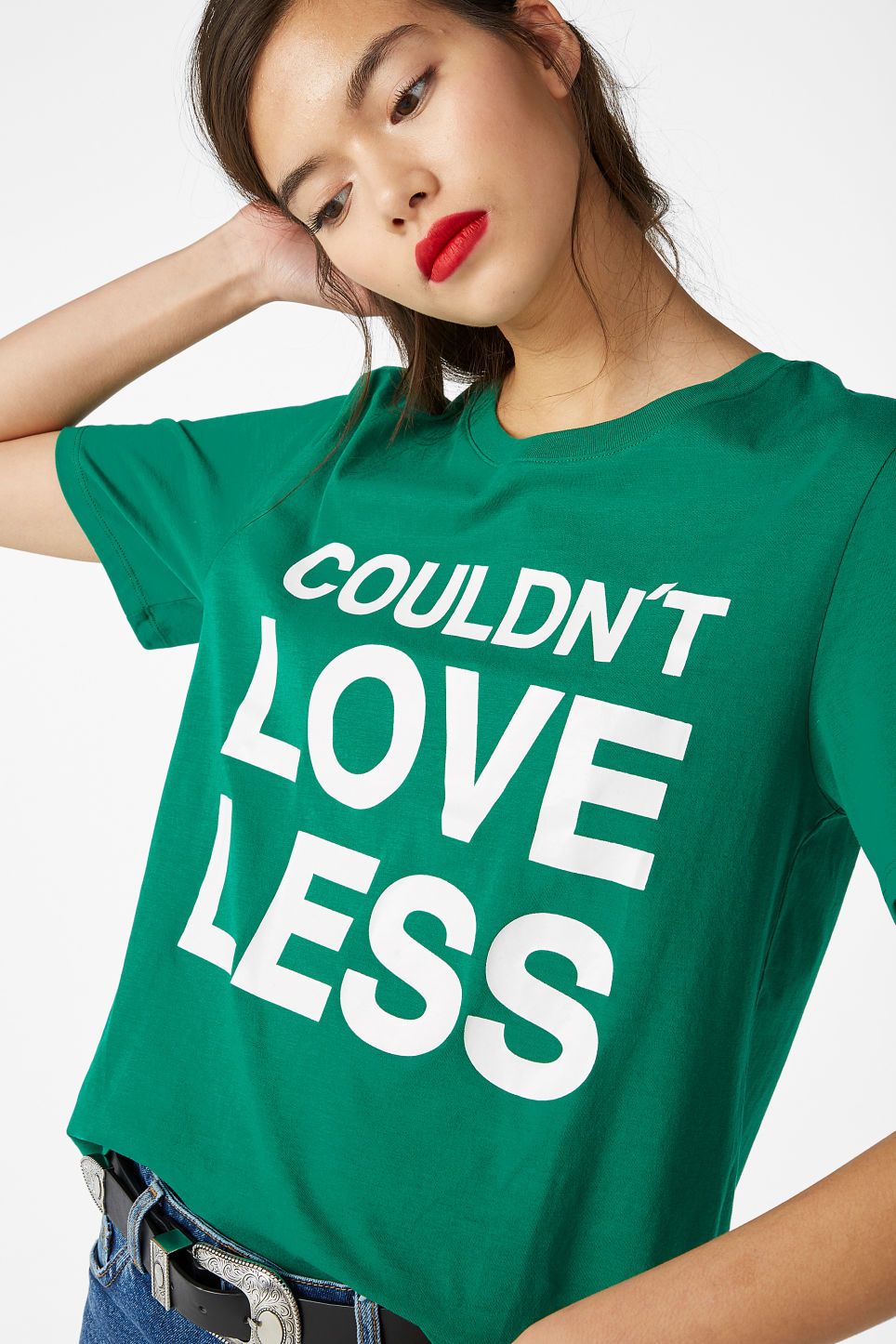 Model front image of Monki cotton tee in green
