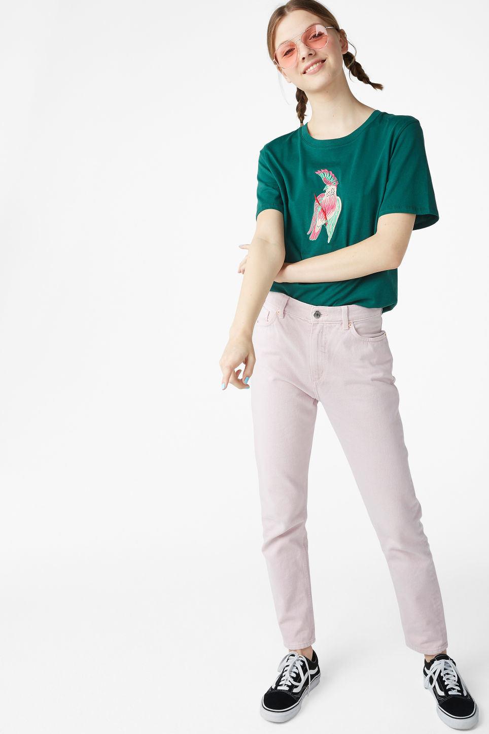 Model side image of Monki cotton tee in green