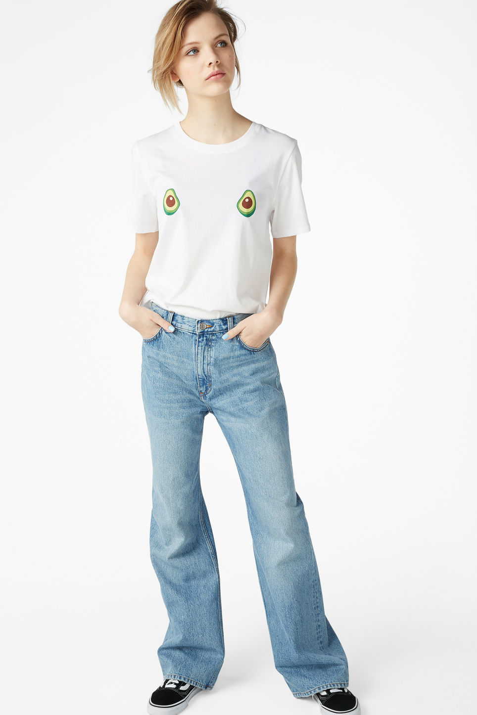 Model side image of Monki cotton tee in white