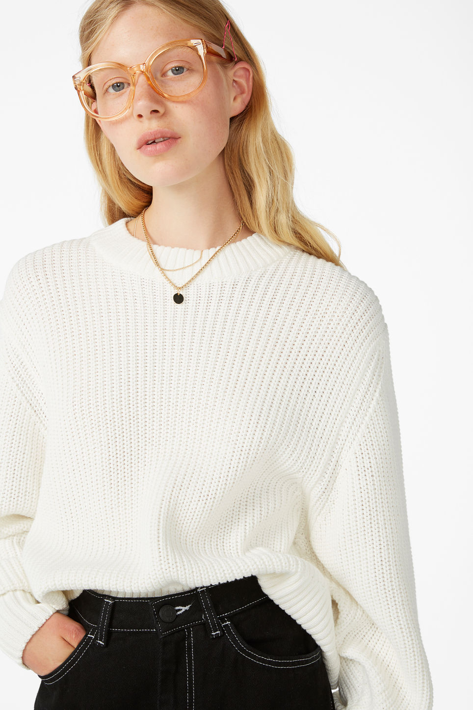 Model front image of Monki puffed sleeve sweater in white