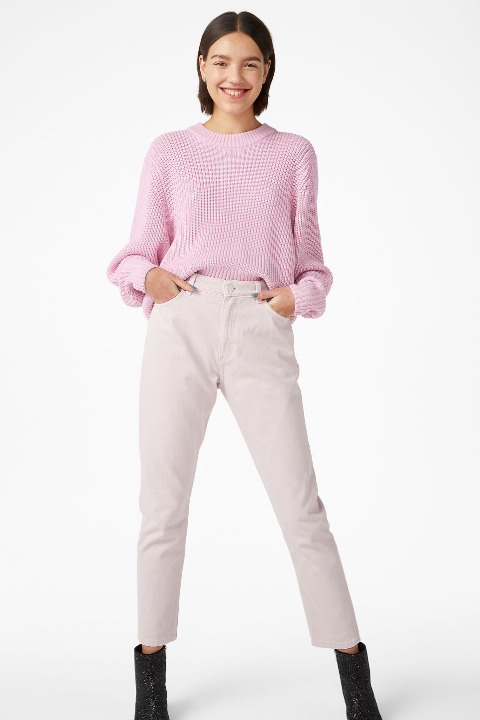 Model front image of Monki puffed sleeve sweater in pink