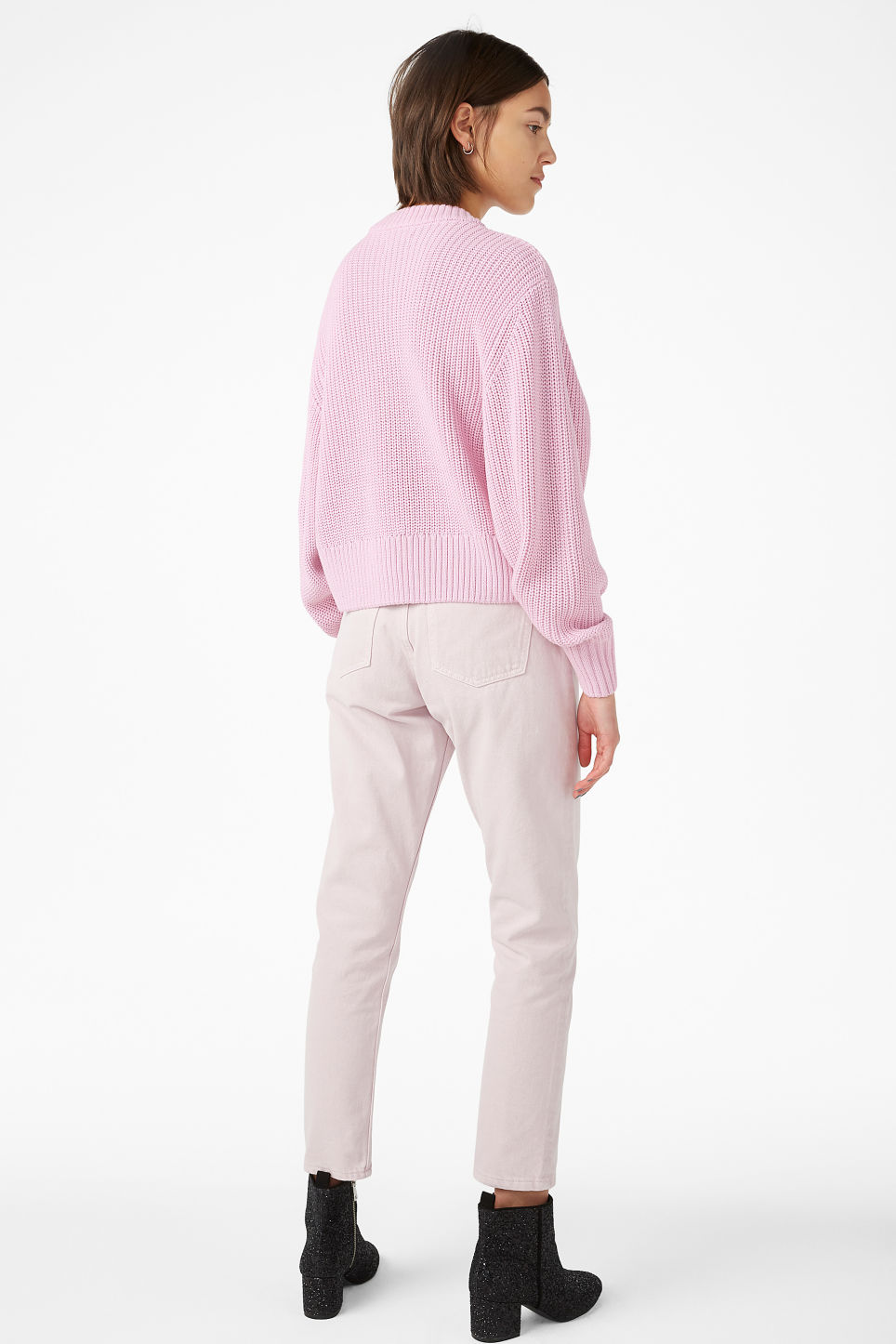 Model back image of Monki puffed sleeve sweater in pink