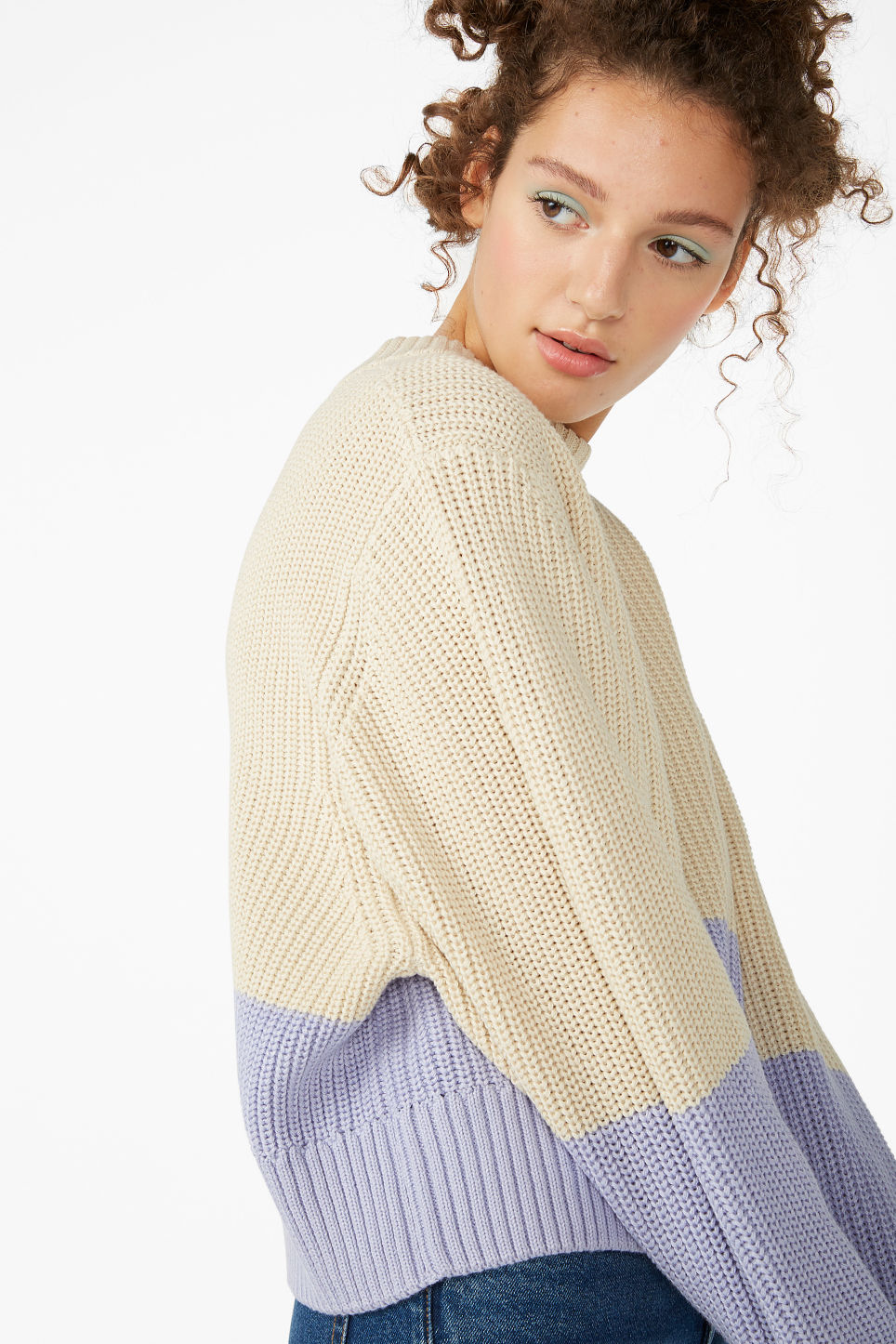 Model front image of Monki puffed sleeve sweater in beige