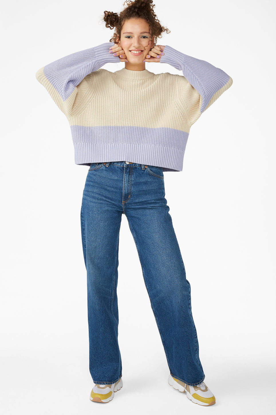 Model side image of Monki puffed sleeve sweater in beige