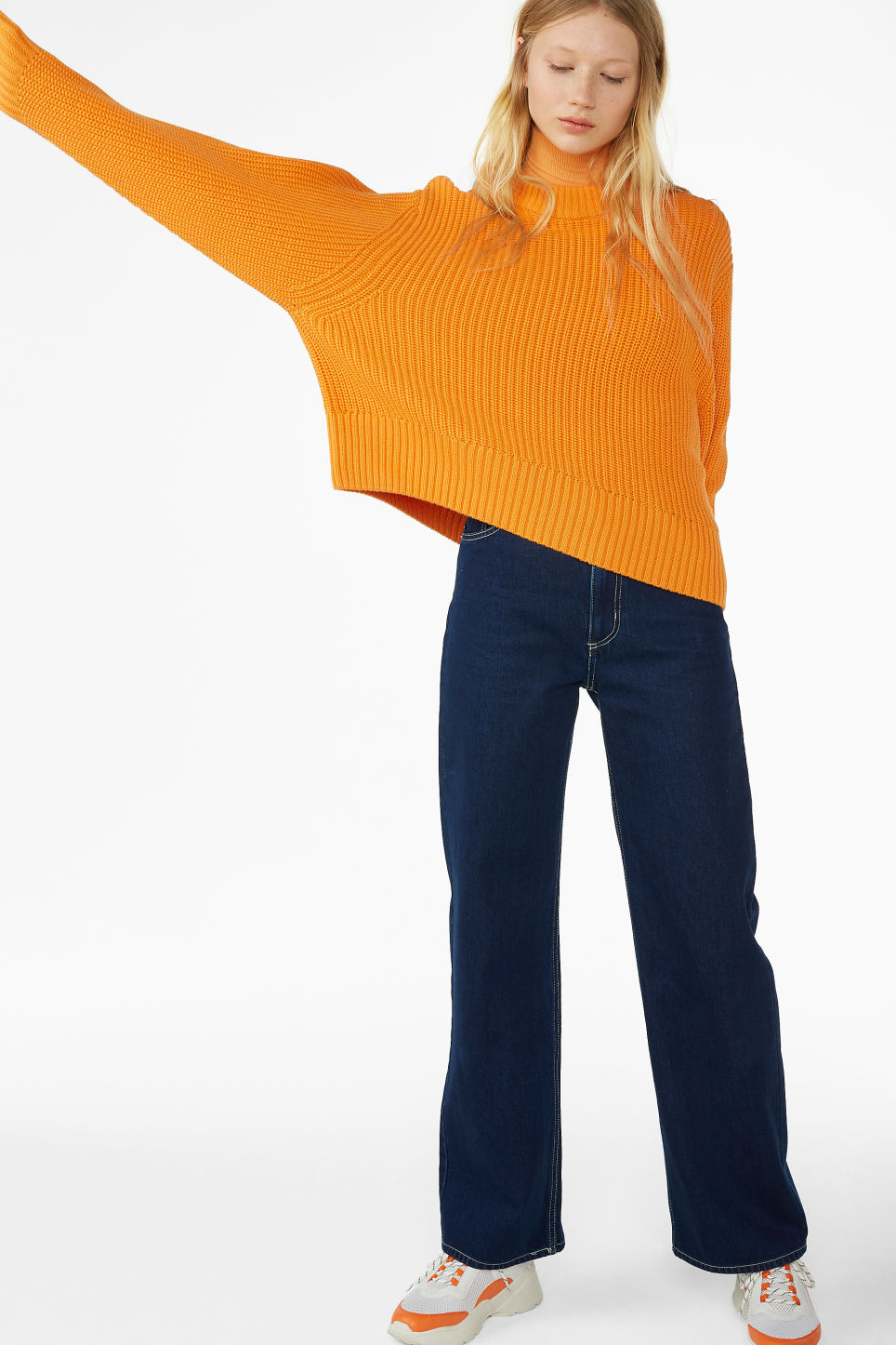 Model front image of Monki puffed sleeve sweater in orange
