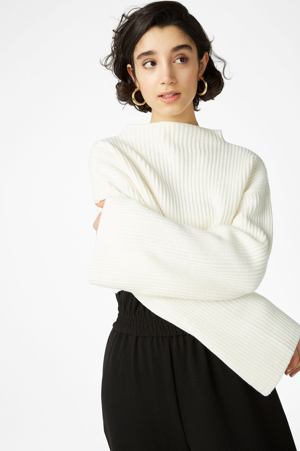Model front image of Monki cropped knit sweater in white