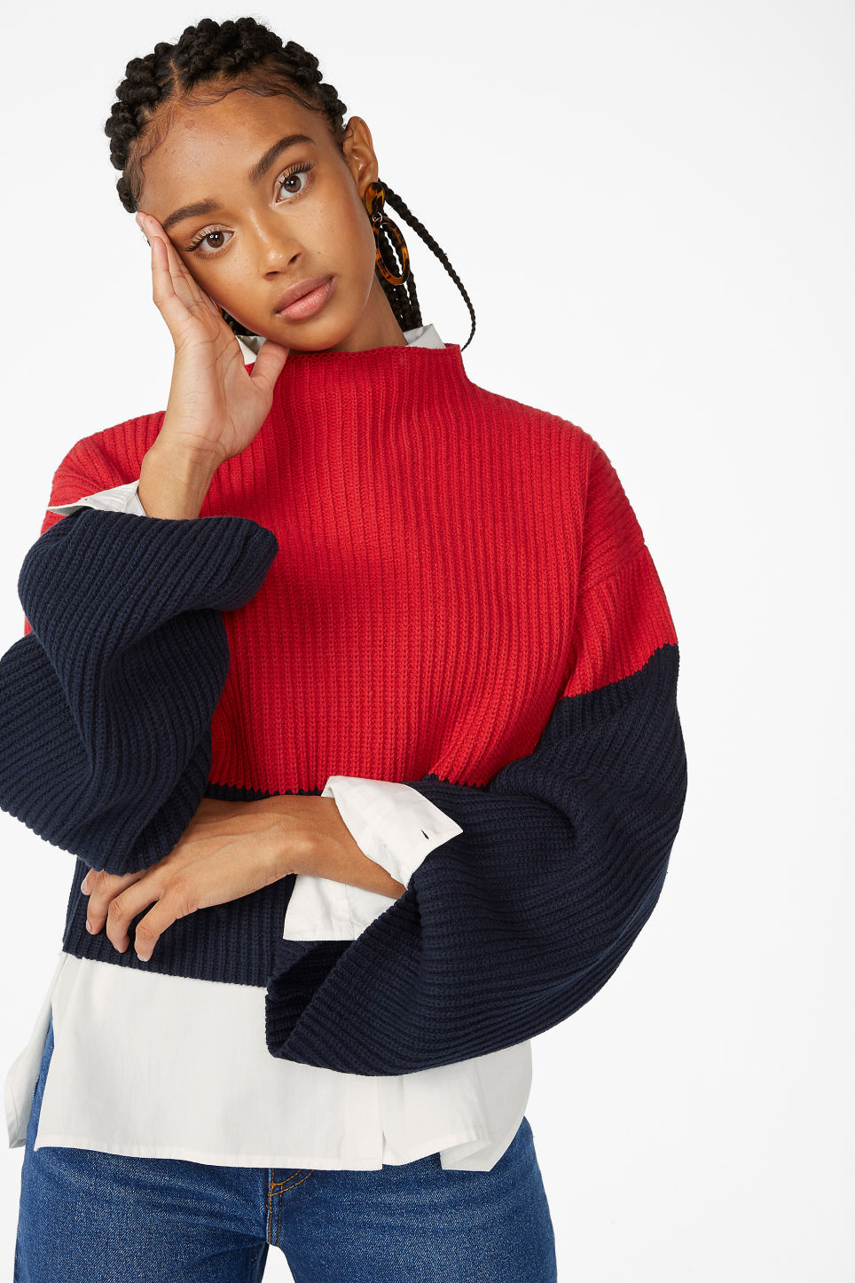 Model front image of Monki cropped knit sweater in red
