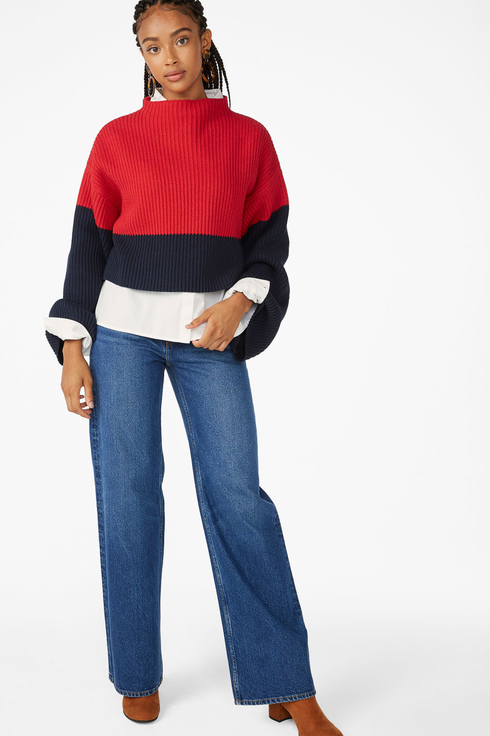 Model side image of Monki cropped knit sweater in red