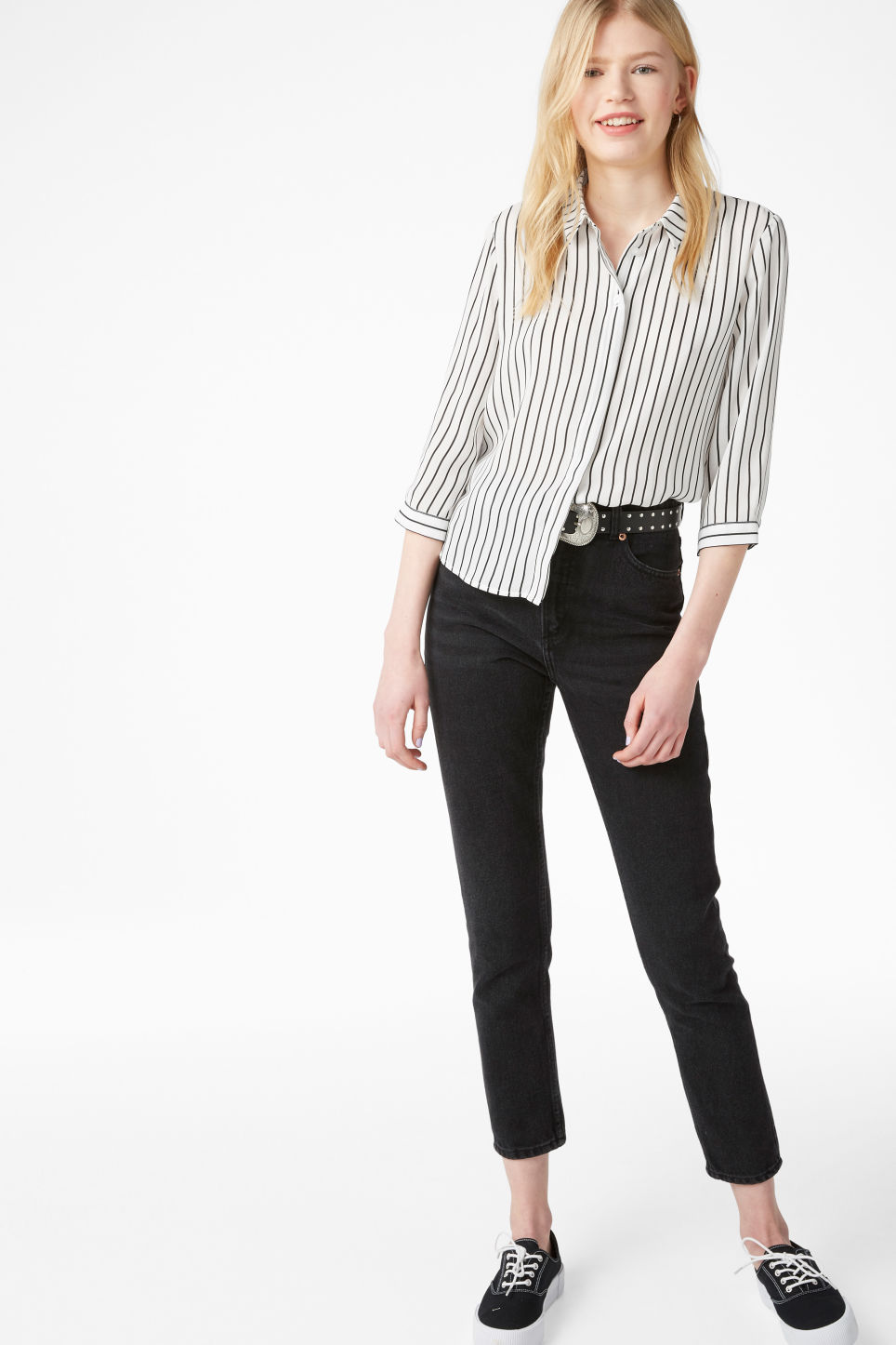 Model side image of Monki button up blouse in white